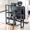ディスプレイ裏収納ラック モニター裏収納ラック 棚 配線 ルーター ちょい置き 幅48.2cm 高さ51cm 3段 22インチ以上のモニター向け