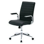 レザーチェア ブラック パソコンチェア ロッキング オフィスチェア 椅子 [SNC-L12BK]