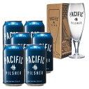 カナダお土産   カナダ パシフィック ピルスナービール 6缶セット グラス付