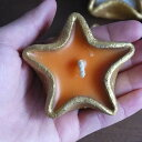 星の形☆★☆キュートなキャンドル(S)【メール便不可】ゴールドの器に入った可愛い星型キャンドル。カラフルな6色展開♪沢山並べて素敵なインテリアに!