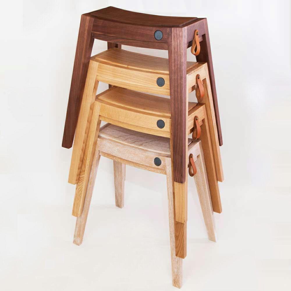スタッキングチェア  スタッキングスツール  スツール  無垢 ウッド  木製  [インテリア企画●b2c スタッキング・スツール(オーク)]  椅子 いす イス チェア チェアー   シンプル 家具 (by_sarasa-design)