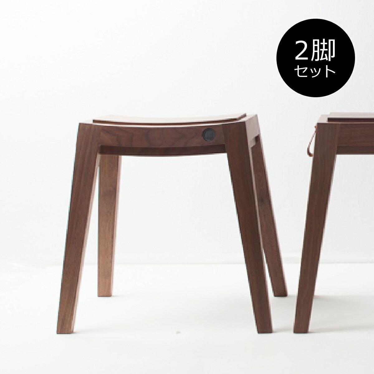 [お得なセット販売●b2c スタッキング・スツール(ウォールナット)2脚セット] (by_sarasa-design)