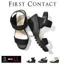 ショッピングウェッジ FIRSTCONTACT(ファーストコンタクト) コンフォートシューズ ヒール レディース 立ち仕事靴 オフィス 室内履き コンフォートサンダル カジュアル 日本製 ウェッジソール (S M L LL) 靴 サンダル レディース 歩きやすい 痛くない エナメル ゴムストラップ 秋