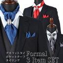 アスコットタイ・チーフ・タイリング3点セット[ Formal 3item set ]( アスコットタイ ポケットチーフ タイリング ) メンズ [紳士用/男性用/フォーマル/ビジネス/おしゃれ/パーティー/結婚式/二次会/無地/赤/青/紫/紺/ネイビー/シルバー/銀/ゴールド/金/セット/ネクタイ]