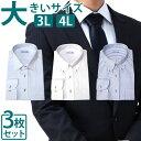 【在庫処分】【大きめサイズ3枚セット】大きい ワイシャツ 長袖 ビッグ 形態安定 3L Yシャツ 4L カッターシャツ 形状記憶 ドレスシャツ 衿回り45 衿回り47 裄丈86 裄丈88 衿周り45 衿周り47 大きめ メンズ 男性 LLL イージーケア LLLL 仕事 ビジネス ゆったり シンプル