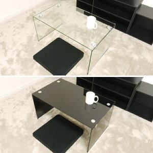 ガラステーブル 75cm幅 ローテーブル センターテーブル コーヒーテーブル カフェテーブル ガラス クリア  クリアー テーブル 透明 ブラック 黒色 高級感 おしゃれ かわいい 送料無料 (北海道