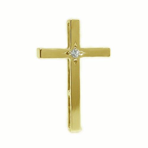 K18YGイエローゴールド ラペルピン ダイヤ クロス 十字架 ピンブローチ ピンバッジ ブローチ 【送料無料】