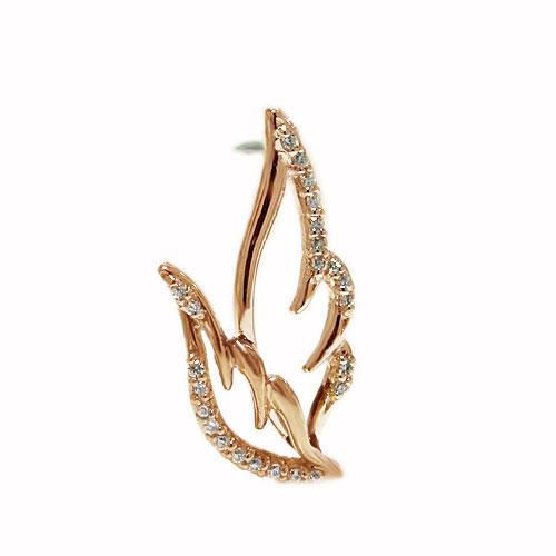 K18PG ピンクゴールド ラペルピン 羽 翼 フェザー ダイヤ ピンブローチ ピンバッジ ブローチ 【送料無料】【雰囲気】