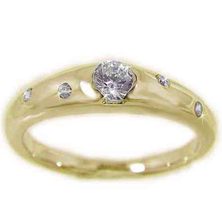 K18YGイエローゴールド ダイヤモンド エンゲージ ブライダル リング 結婚指輪 鑑別書付 SI1 【送料無料】