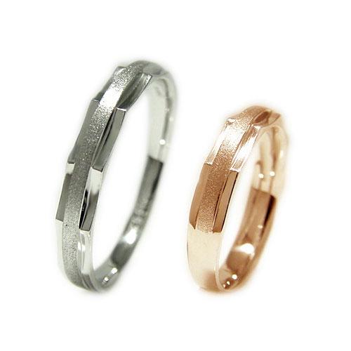 K10WGホワイトゴールド/K10PGピンクゴールド 地金 マリッジ リング 結婚指輪 指輪 ペア 2本セット リングケース付 【刻印無料】
