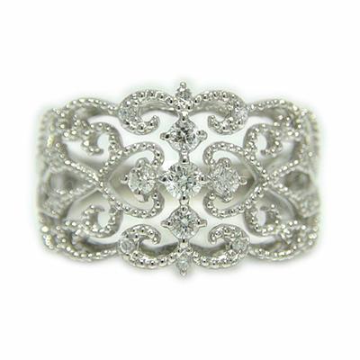 PT900 プラチナ ダイヤモンド アンティーク ミル打ち 透かし リング 指輪 【送料無料】