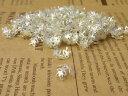 座金 花座パーツビーズキャップ14mm100個 silver白銀