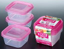 【scb※】ホームパック F (300mL×3P) K300-2 ピンク 電子レンジOK 冷凍保存可 保存容器 日本製 【O】