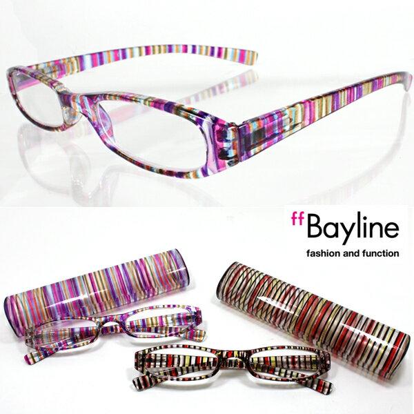 [SALE]Bayline/ベイライン リーディンググラス(老眼鏡) マルチストライプピンク&レッド/スリムプラスチックケース☆【あす楽対応】