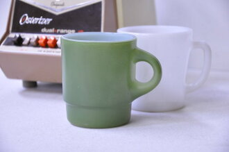 Fire King mug tea green Fireking
