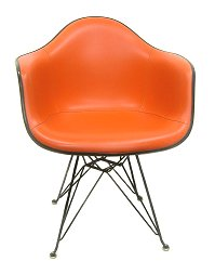 And Eames Herman Miller original orange, naugahyde armshell Chair herman miller Eames Armshell