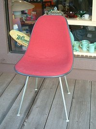 -Eames Eames Herman Miller red fabric side shell herman miller