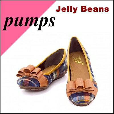 バレエパンプス痛くないぺたんこ歩きやすいリボン付きレディース限定ジェリービーンズJellyBeans41236オレンジ/コンビ