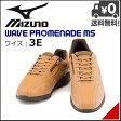 ミズノ メンズ ウォーキングシューズ スニーカー 3E 幅広 クッション性 耐久性 通気性 ウェーブプロムナード MS WAVE PROMENADE MS mizuno B1GR155857 ブラウン