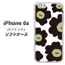 iPhone6s TPU ソフトケース / やわらかカバー【VA953 花柄 マリメッコ ブラック 素材ホワイト】シリコンケースより堅く、軟性のあるTPU素材(アイフォン6s/IPHONE6S/スマホケース)