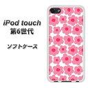 iPod touch 6 第6世代 TPU ソフトケース / やわらかカバー【757 小さなルーズフラワー(ピンク) 素材ホワイト】 UV印刷 シリコンケースより堅く、軟性のあるTPU素材(iPod touch6/IPODTOUCH6/スマホケース)
