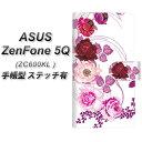 ASUS Zenfone 5Q ZC600KL 手帳型 スマホケース カバー 【ステッチタイプ】【116 6月のバラ】