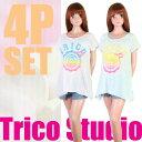 【あす楽】(パケット便送料無料)Trico Studio(トリコスタジオ)ガールズ・イレギュラーT デニムパンツ付き4P(ジュニア水着)0555