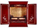 仏壇 小型仏壇 赤い仏壇 鉄仙蒔絵入せせらぎ16号 仏具付