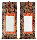 【仏壇】【掛け軸】両脇軸・新金 20代【総高さ20.3cm 軸巾9.4cm】