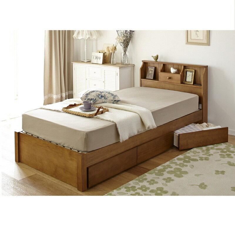 【送料無料】 カントリー調収納付きベッド 木製ベッド 収納ベッド シングルベッド 棚付き コンセント付き すのこベッド 引き出し付きベッド 【大型】