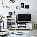 【送料無料】 波ガラスを使用したデザインテレビ台 キャビネットセット ホワイト 【直送】