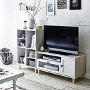 【送料無料】 波ガラスを使用したデザインテレビ台 ディスプレイラックセット ホワイト 【直送】