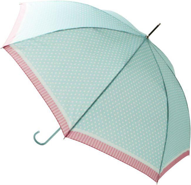 【福永】雨 傘 ジャンプ おんぷドット グリーン 58cm