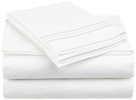 【送料無料】【Anili Mili's Triple Stitch Embroidery Affordable 4 PC Bed Sheet Set - King Size White by Anili Mili】 b003h7d03m