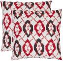 【送料無料】【Safavieh Pillow Collection Preppy Argyle 18-Inch Decorative Pillows White Red and Black Set of 2 by Safavieh】 b0057dug36