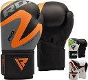 【RDXボクシンググローブトレーニングパンチバッグSparring Maya非表示レザータイ式Mitts Kickboxing 12oz オレンジ】 b01n0a52hg