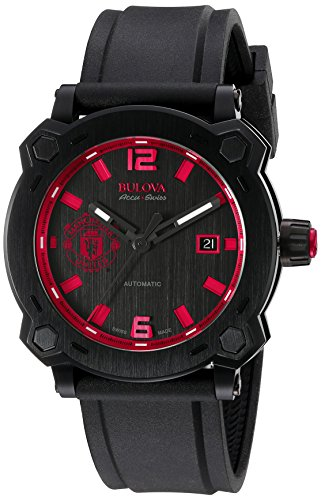 【送料無料】【ブローバMen 's ' Percheron ' Swiss Automaticステンレススチールand Rubber Casual Watch Color : Black ( Model : 65b165?)】 b010vxv572
