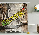 【Rastaシャワーカーテンby Ambesonne、ジャマイカレゲエ音楽アイコンInspired Rastafari Street Graffitiイメージ、ファブリック浴室装飾セットのフック、ブラウンライトグリーンとイエロー 69 W By 70 L sc_36084】 b073w8ftt3