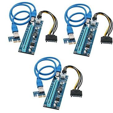 【lteriver 6ピン電源供給ver006 C PCI ExpressライザーMining専用グラフィックスカード拡張子ケーブルGPUグラフィックカード暗号通貨・マイニングwith 60 cm (インチ) USB 3.0延長ケーブル( 3pack )】 b01cif5qvc