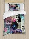 【古い新聞インテリア布団カバーセットby Ambesonne、ブルース音楽ジャンル古いレコードElectric guitars Kiss inscriptionsグランジ、装飾寝具セット枕のカバー、マルチカラー TWIN / TWIN XL nev_39038_twin】 n