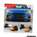 輸入カーパーツ Ford Focus ST LINE 2018-2020デイタイムランニングライト用LED DRLフォグランプドライビングライト、イエローターンシグナルファンクションリレー付き For Ford Focus ST LINE 2018-2020 Daytime running lights LED DRL Fog lamp driving lights with Yel