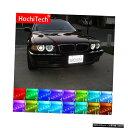 輸入カーパーツ 最新のヘッドライトマルチカラーRGB LEDエンジェルアイズハローリングアイDRL RFリモートコントロールBMW 7シリーズE38 1994-2001 4x131mm Latest Headlight Multi-color RGB LED Angel Eyes Halo Ring Eye DRL RF Remote Control For BMW 7 Series E38 199