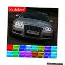 輸入カーパーツ 最新のヘッドライトマルチカラーRGB LEDエンジェルアイズハロリングアイDRL RFアウディA8 S8 2004 2005-2009アクセサリー用リモコン Latest Headlight Multi-color RGB LED Angel Eyes Halo Ring Eye DRL RF Remote Control For Audi A8 S8 2004 2005 - 200