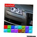 輸入カーパーツ アウディA8 S8 2004 2005 2006 2007 2008 2009の最新のヘッドライトマルチカラーRGB LEDエンジェルアイハロリングアイDRL RFリモコン Latest Headlight Multi-color RGB LED Angel Eyes Halo Ring Eye DRL RF Remote Control For Audi A8 S8 2004 2005 2006