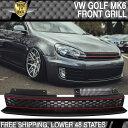 グリル 10-14 VWゴルフ6 MK6 GTIスタイルフロントハイバーブラックレッドメッシュグリル - ABS 10-14 VW Golf 6 MK6 GTI Style Front High Bar Black Red Mesh Grille - ABS