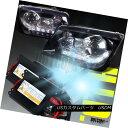 ヘッドライト Glossy Black Fit 1999-2004 VW Jetta R8 LED Projector Headlights+H1 6000K HID Kit 光沢ブラックフィット1999-2004 VWジェッタR8 LEDプロジェクターヘッドライト+ H1 6000K HIDキット