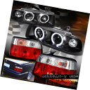 ヘッドライト 1992-1998 BMW 3-Series E36 4Dr Halo Projector Black Headlights + Red Tail Light 1992-1998 BMW 3シリーズE36 4Drハロープロジェクターブラックヘッドライト+レッドテールライト
