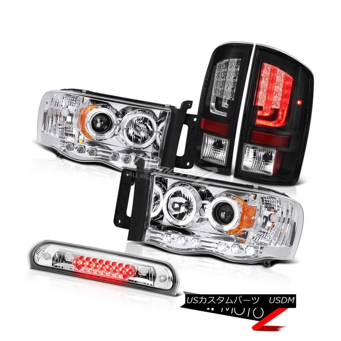 Dodge 02-05 Ram 1500//2500//3500 Black Headlights+Tail Lamps+Clear LED 3rd Brake