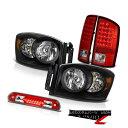 ヘッドライト 2006 Dodge Ram 2500 Pair Raven Black Headlights LED Taillamps T...