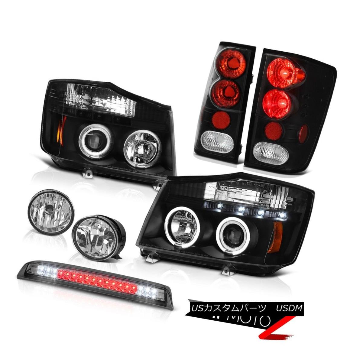 Fit 04-15 Titan Clear LED Halo Projector Headlights+LED Rear Tail+3rd Brake Lamp
